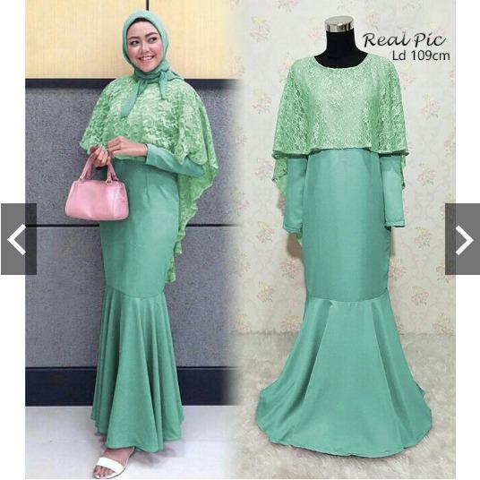 IndonesiaHeritage Gamis Pesta Premium Mermaid Jumbo dg Cape Brukat Glitter memanjang ke belakang  (Original / Foto Asli Real Pic) - Fashion Busana kondangan Muslimah Jumbo XL - Syari Pesta - Kebaya Modern Wisuda - Gaun Pesta Party Maxy Dress ihmellis