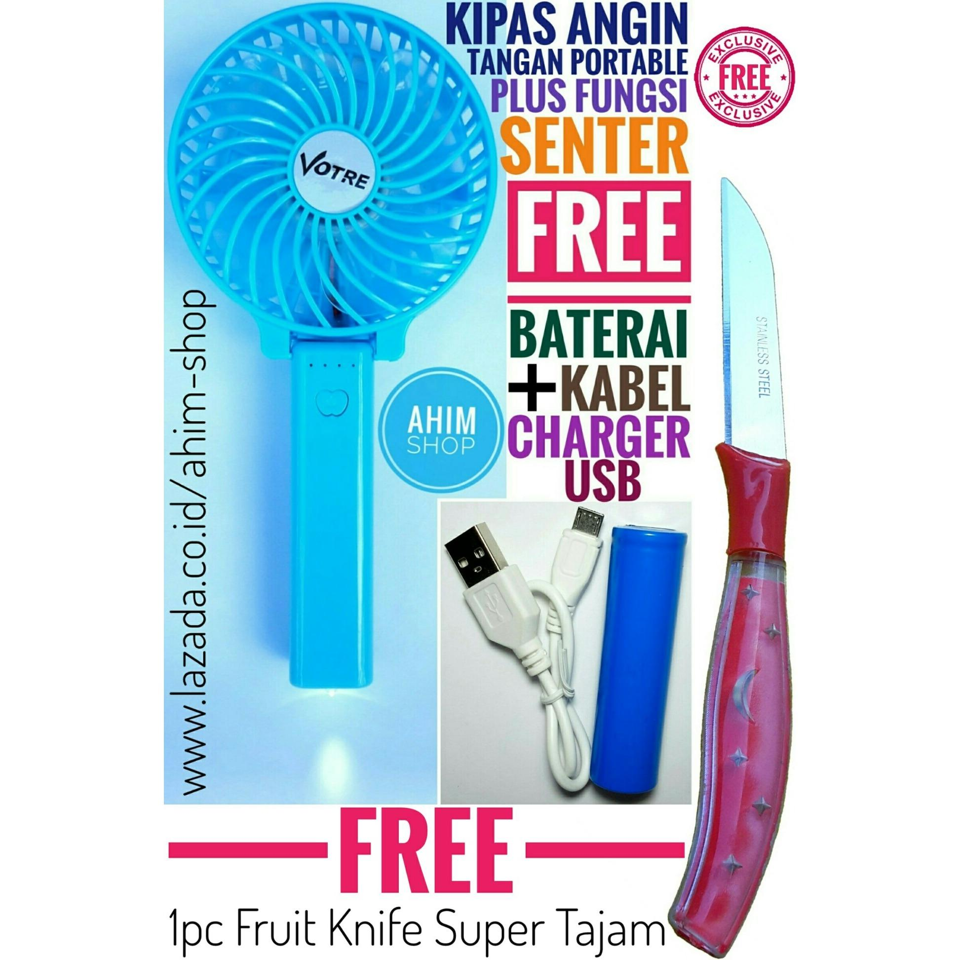 Kipas Angin Tangan BIRU Lipat Portable 4.5W USB Fan Mini Stand PLUS Fungsi Senter FREE Kabel Charger + Baterai PLUS 1pc FRUIT KNIFE Star Moon STAINLESS STEEL (Warna Acak)