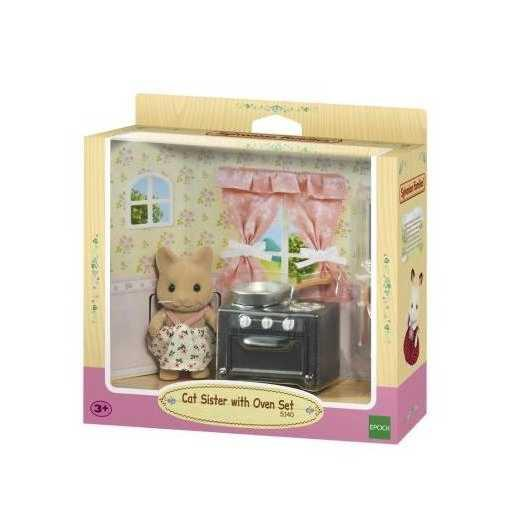 SYLVANIAN FAMILIES CAT SISTER WITH OVEN SET | Aksi