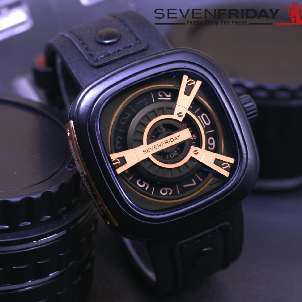 Sevenfriday Design Casual Leather Strap Jam Tangan Pria plat gold