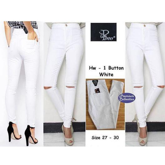OLIVIAFASHION CELANA JEANS BASIC HIGH WAIST STRETCH PUTIH SOBEK LUTUT SIZE 29