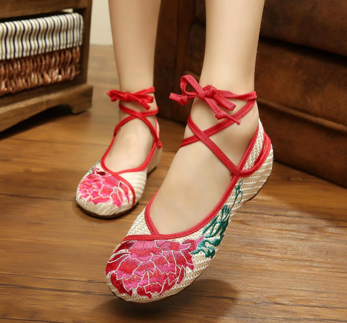 2016 Red Lotus Bawah Tendon tua Beijing Sepatu linen bordir musim panas Sandal Summer sepatu lapisan tunggal wanita Ibu menari sepatu dansa