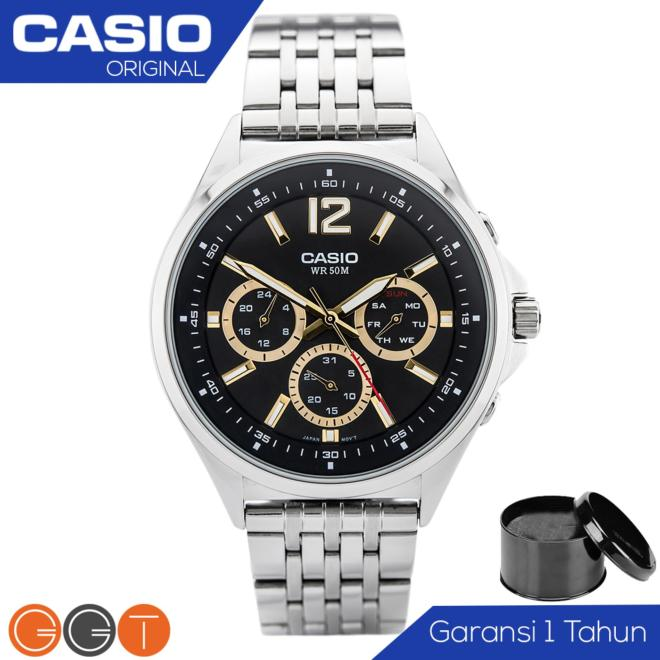 Casio Chronograph Jam Tangan Pria - Strap Stainless Steel - MTP-E303D