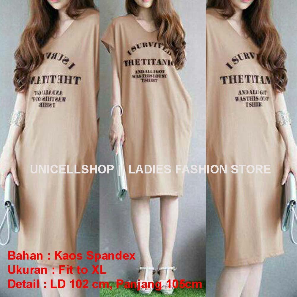 Toko atasan wanita Shop Dress wanita lengan pendek Dress tulisan letter  survived Baju Wanita lengan pendek 9ade58123f