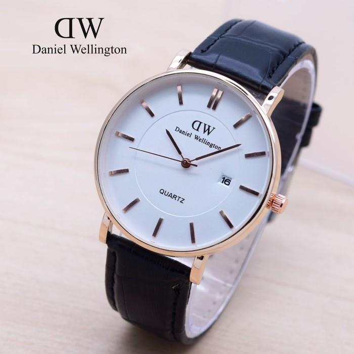 Jam Tangan Pria / Cowok DW Man Date Leather Black Rose