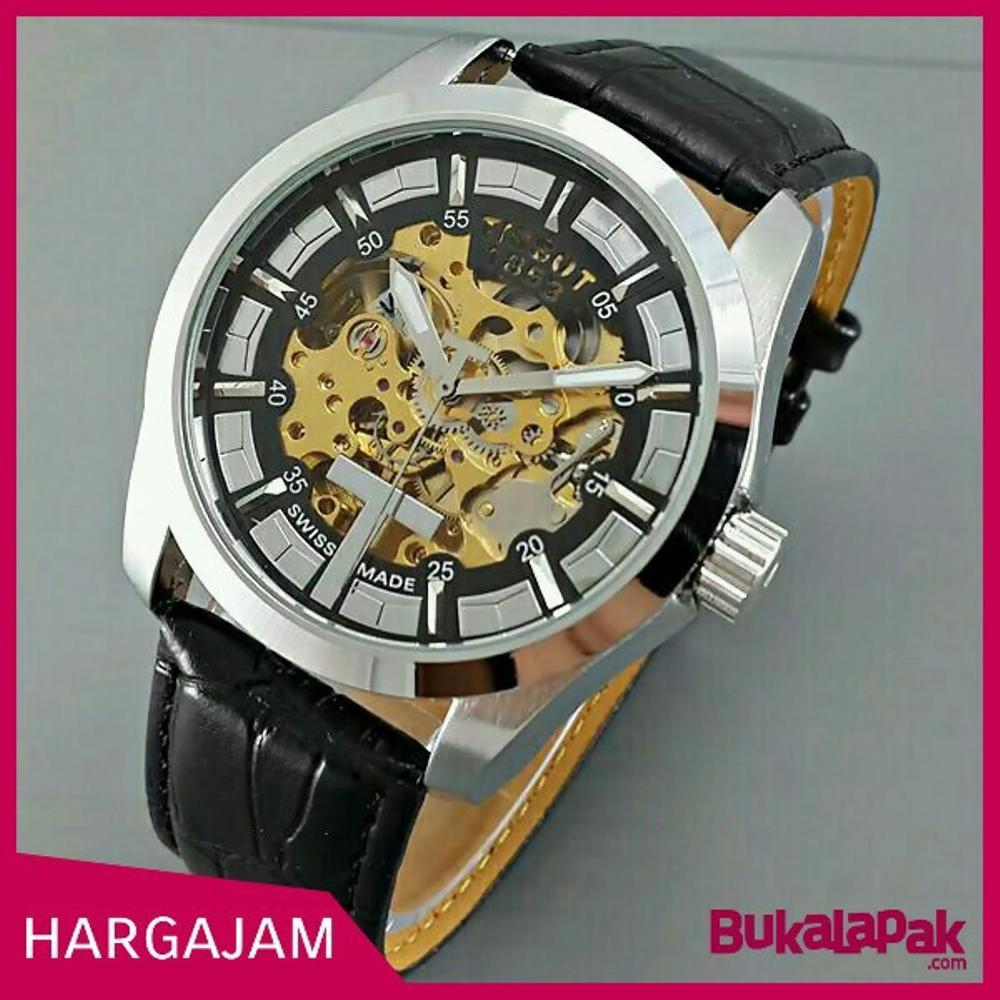 Jam Tangan Automatic Tissot 1853 Skeleton Leather Black(Hargajam Harga Jam Matic Otomatis)