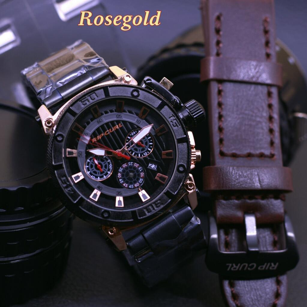 [LIMITED EDITION] RIPCURL - JAM TANGAN FASHION KEREN DAN CASUAL PRIA-COWOK RIPCURL - CRONO ACTIVE & DATE ON - RANTAI BODY GOLD RING BLACK - STAINLESS STEEL - FREE 1 PCS TALI KULIT