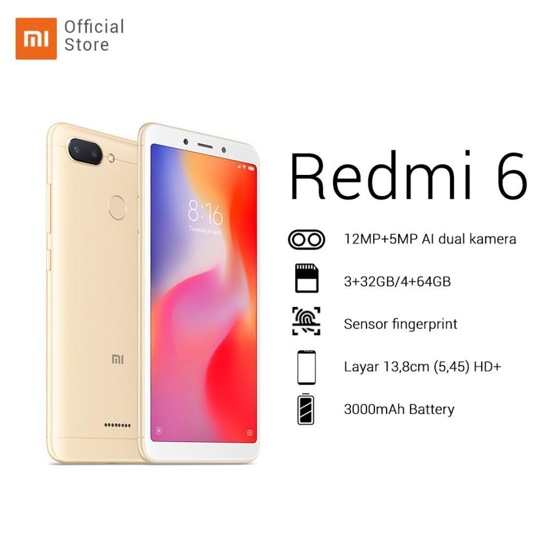 """Hasil gambar untuk Redmi 6 3/32GB + dual camera 12MP + 5MP HD 5,45"""" AI face unlock 12nm Octa-core processor baru 2+ 1 slot Battery 3000mAh"""