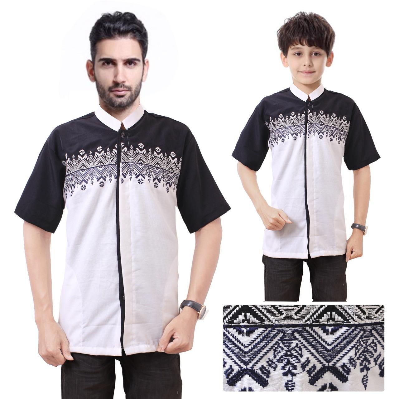 168 Collection Baju Koko Milogan Kemeja Muslim Lengan Pendek ayah dan anak