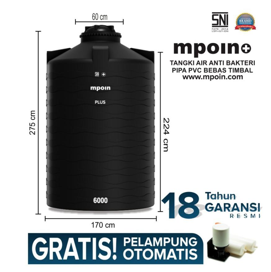 MPOIN PLUS WAVE 6000 L - SNI TANGKI AIR TANDON AIR TOREN - ANTI LUMUT ANTI PECAH GARANSI 18TH