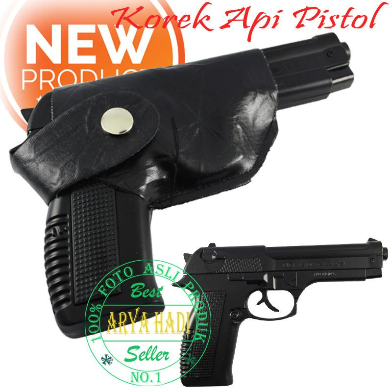 Korek Api Pistol 3648-1 Plus Sarung / 608 Leather Machine Body Besi - JUMBO