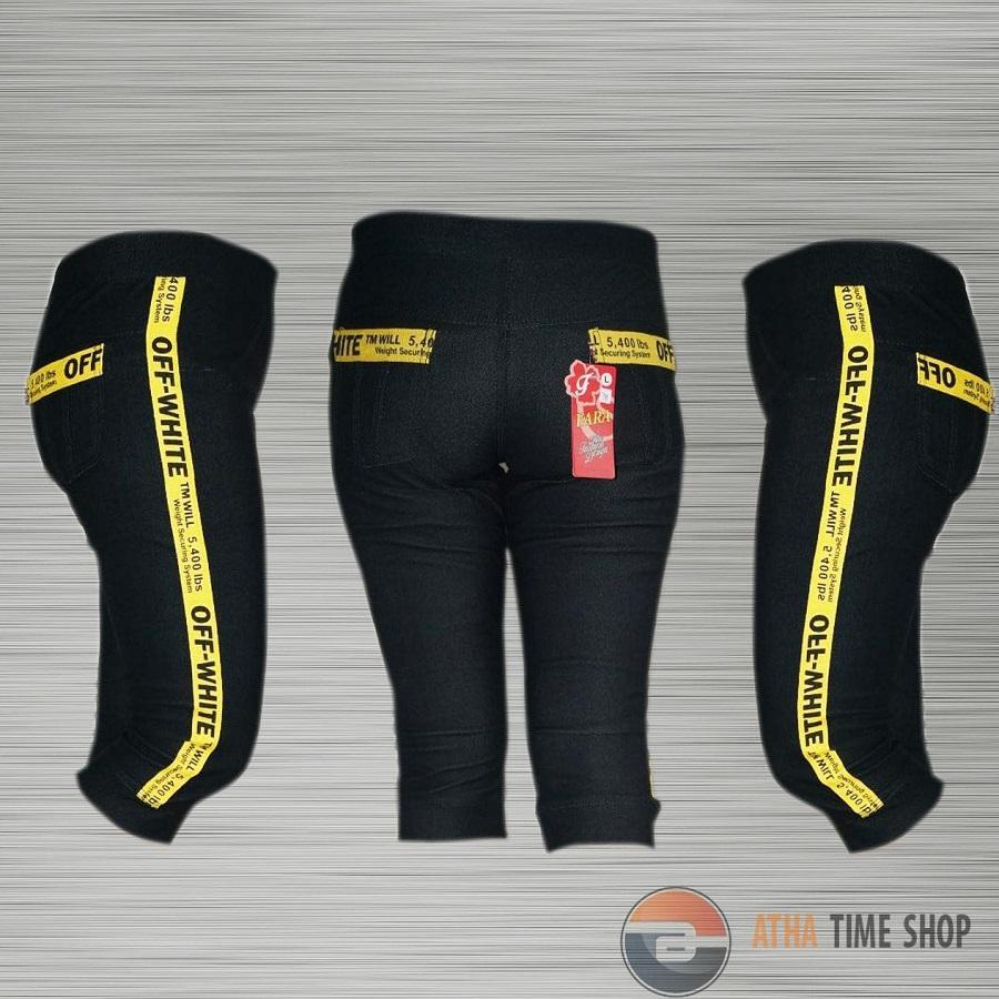 Legging Motif Strip Celana Legging Wanita 3/4 - Off White (Bahan Denim)