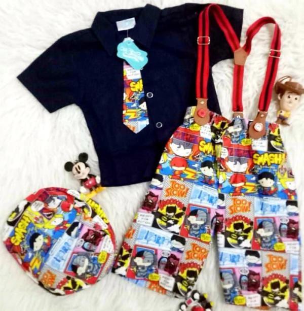 Setelan Baju Celana Bayi Anak - 5in1 Suspender Dasi Superhero