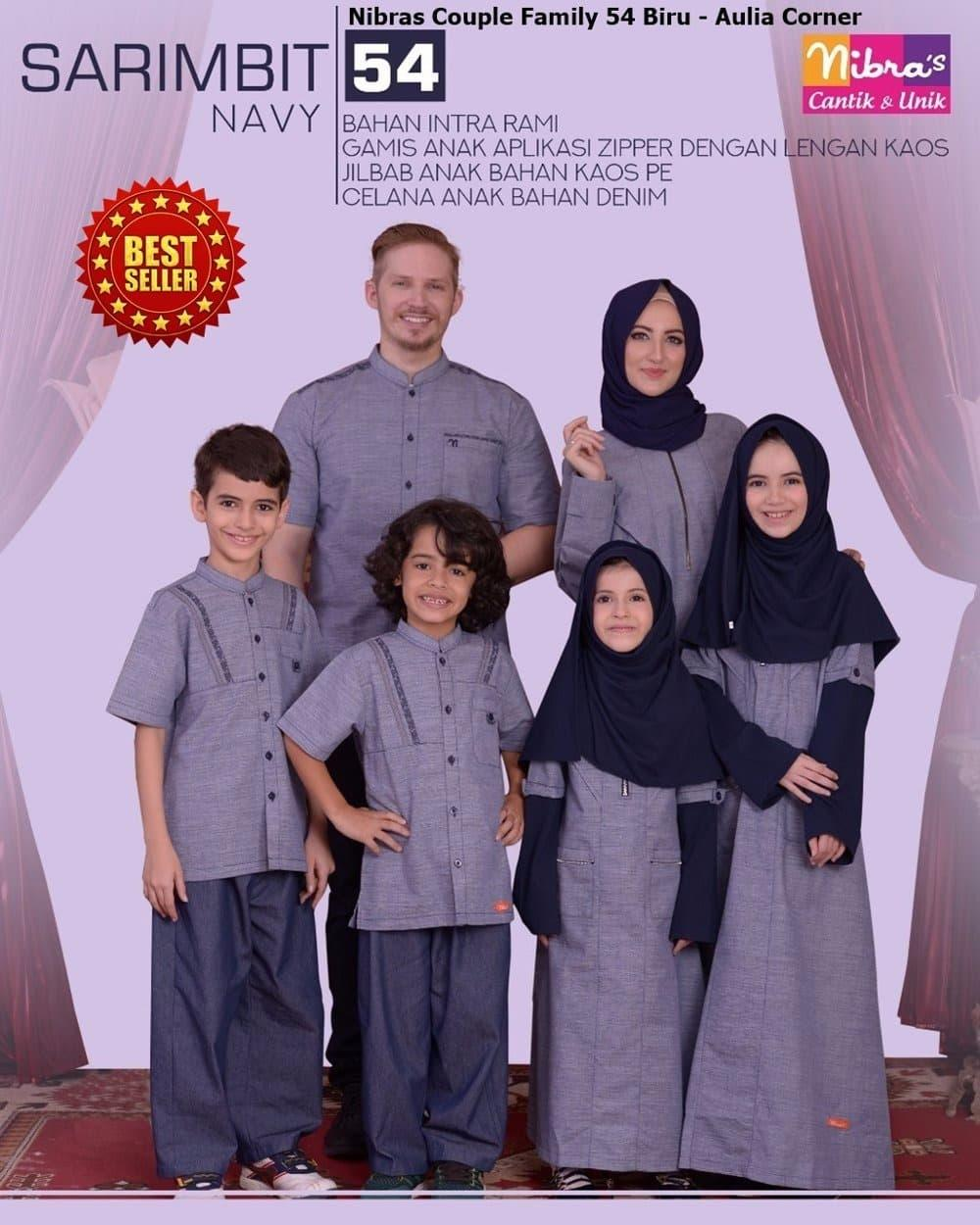 Gamis Couple Keluarga Nibras Couple Family 54 Navy ORIGINAL