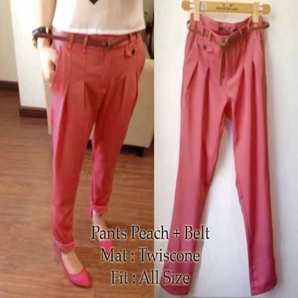 [Pants Peach SW] Celana Wanita Twiscone Salem