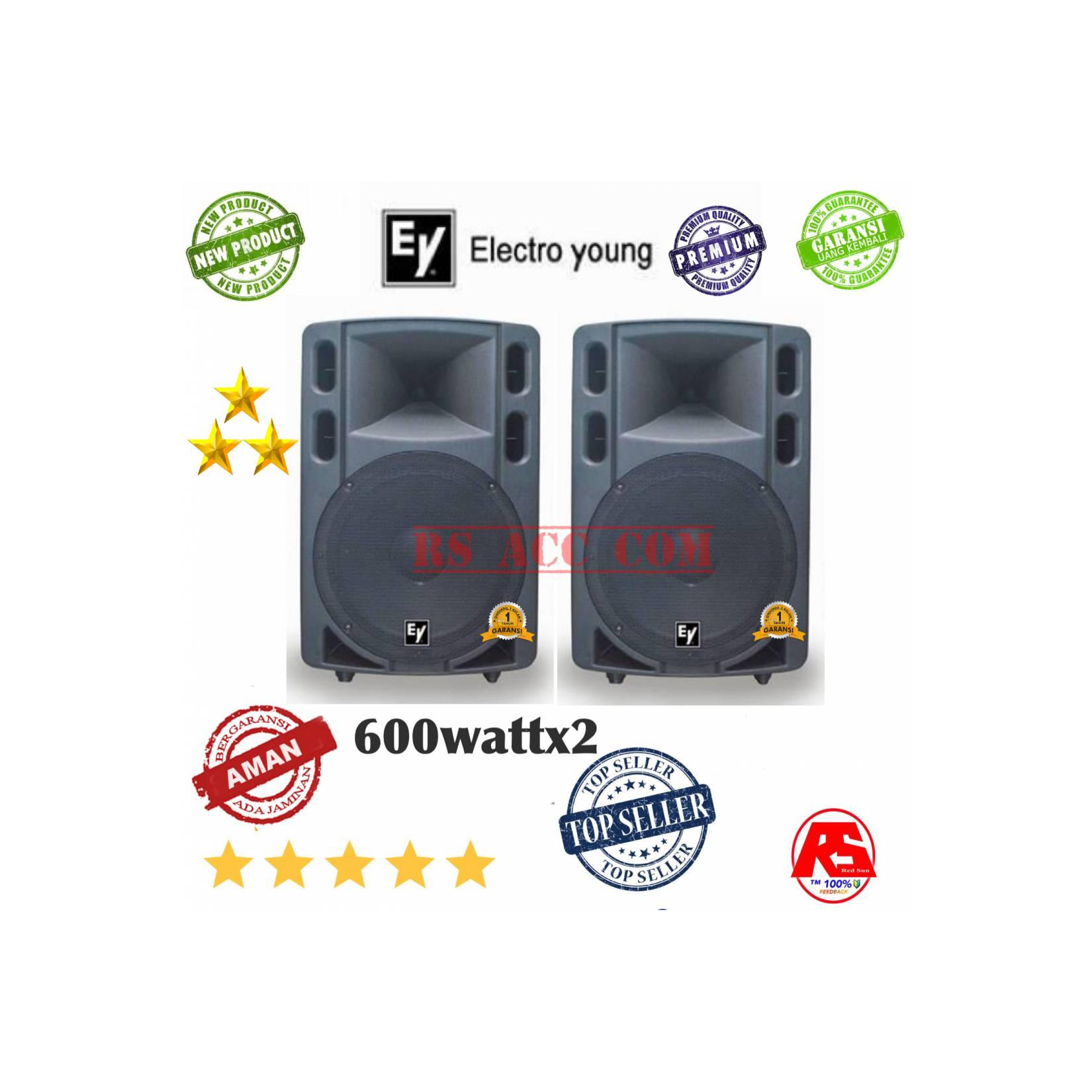 SPEAKER AKTIF 15 INCH WOOFER POWER FULL ELECTRO YOUNG 600watt X2
