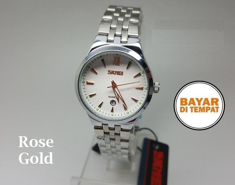 Jam Tangan Couple Original SKMEI Pria Lelaki Laki-laki Cowo Cowok Perempuan Wanita Cewek Cewe Lady Women Silver Putih / White Analog Elegant Stainless Steel Anti Air Waterproof 30 Meter Chrono Tanggal Aktif Mewah Garansi 339071