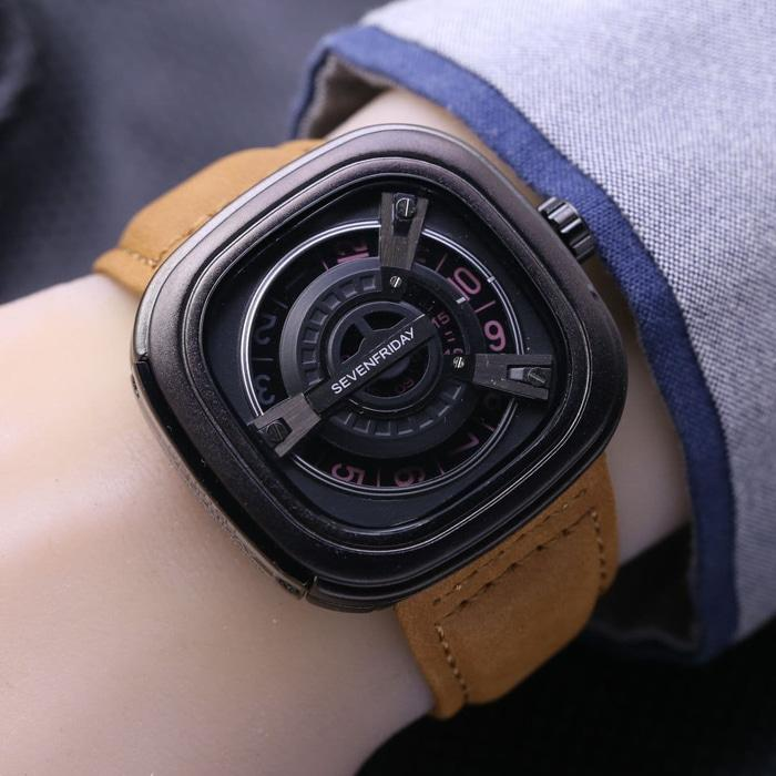JAM TANGAN PRIA SEVENFRIDAY M2 KULIT BROWN BLACK