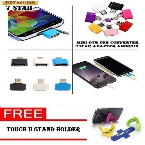 Mini OTG USB Converter 7STAR Adapter Android + Gratis Touch U Holder