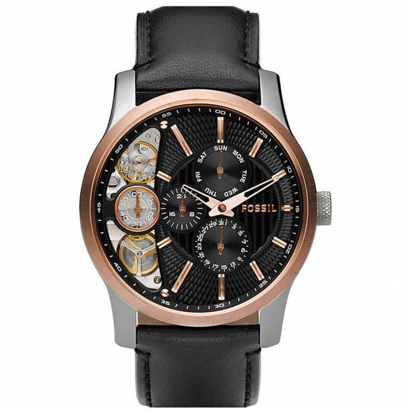 FOSSIL ME1099 - MECHANICAL TWIST - Multifunction - Analog - Jam Tangan Pria - Bahan Tali Leather - Hitam