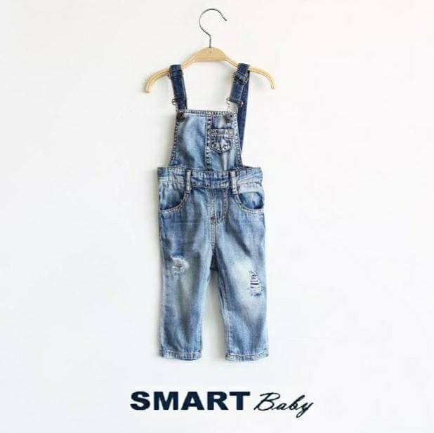 Smart Baby  Girl Ripped Overall Jeans  Celana Jeans Bayi Anak  6 bulan