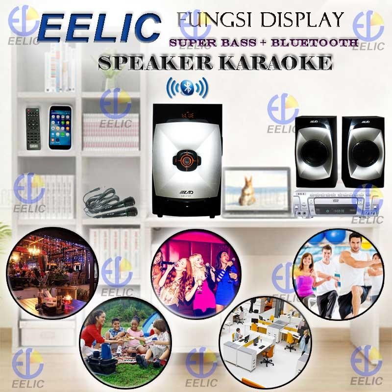 EELIC SPR-LD2181 MIX2 HITAM SPEAKER AKTIF SOUND SISTEM AUDIO KARAOKE SUPER BASS + BLUETOOTH DAN MICROPHONE DENGAN MIC-NK308 (2 PCS) DENGAN MIC TANPA KABEL MIC WARELES MIC KARAOKE PROFESIONAL WIRE AND WIRELESS MICROPHONE WIRELESS RECEIVER