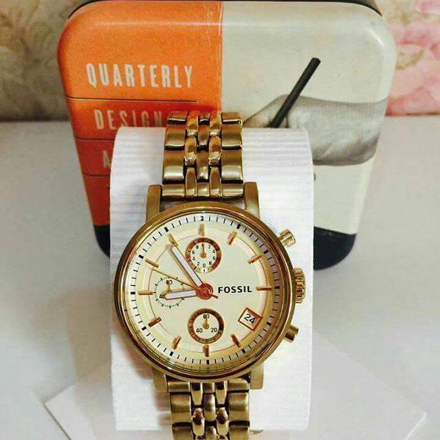 Fossil Gold Watch Nwt Tinbox Original Authentic