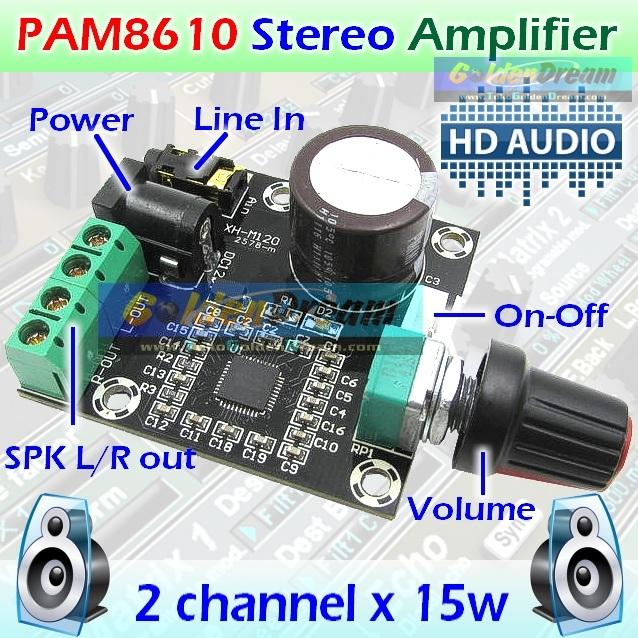 PAM8610 Amplifier 2x15w HD Digital Hi-Fi Mini Audio Ampli Class D 12v Genzatronik