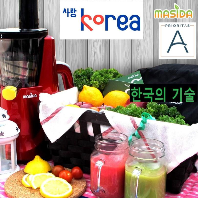 KOREAN Masida Slow Juicer Pengejus Buah Cold Press Slow Squeeze 43 RPM Multipurpose Single Multipurpose Touch Button BL 400 Red