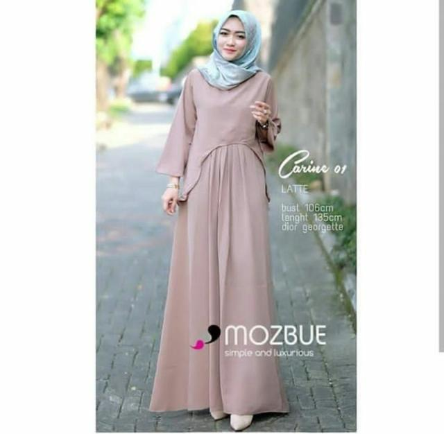 Ria_Store SR002 Carine Dress Latte // Busana Muslim Wanita SR002 Carine Dress Latte // Maxi Dress / Dress Maxi Tunik / Maxi Muslim / Dress Muslim / Busana Muslim / Baju Muslim / Hijab Fashion / Hijab Style - Hight Quality
