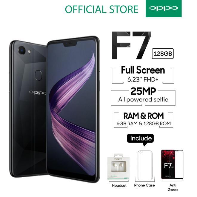 OPPO F7 6GB/128GB Black - 25 MP Ai Camera (Garansi Resmi Oppo Indonesia, Cicilan Tanpa Kartu Kredit, Gratis Ongkir)