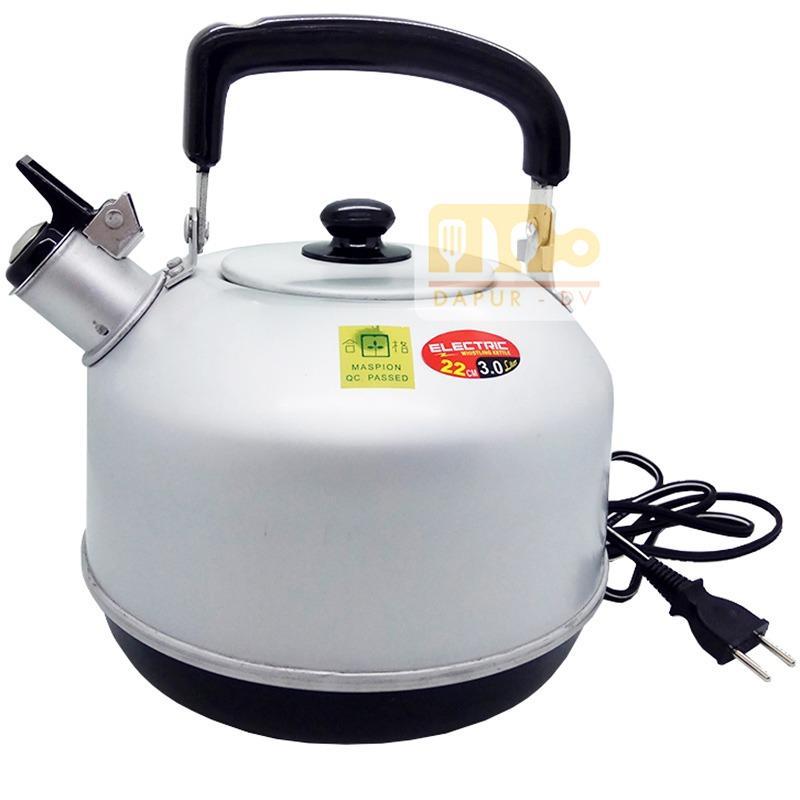 Maspion Teko Listrik Bunyi Aluminium 22cm - Silver / whistling kettle eletric / teko elektrik / teko bunyi elektrik / teko pemanas air / toko David