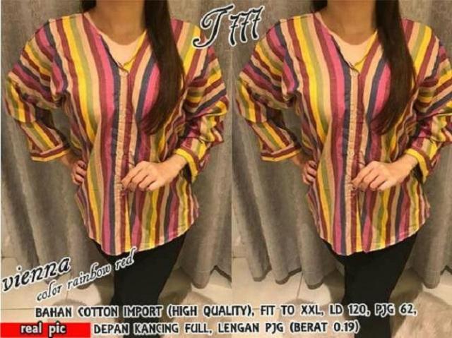 HRV Shop Kemeja Wanita Jumbo Vienna Rainbow / Baju Jumbo / Kemeja Jumbo / Big Size / Baju Jumbo Wanita / Baju Muslim Jumbo / Baju Ukuran Besar / XL / XXL / Baju Muslim / Tunik Jumbo