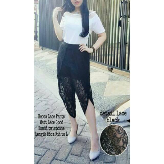 RX Fashion Becca Lace Pants Bahan Lace Combi Twiscone Fit L 1Y