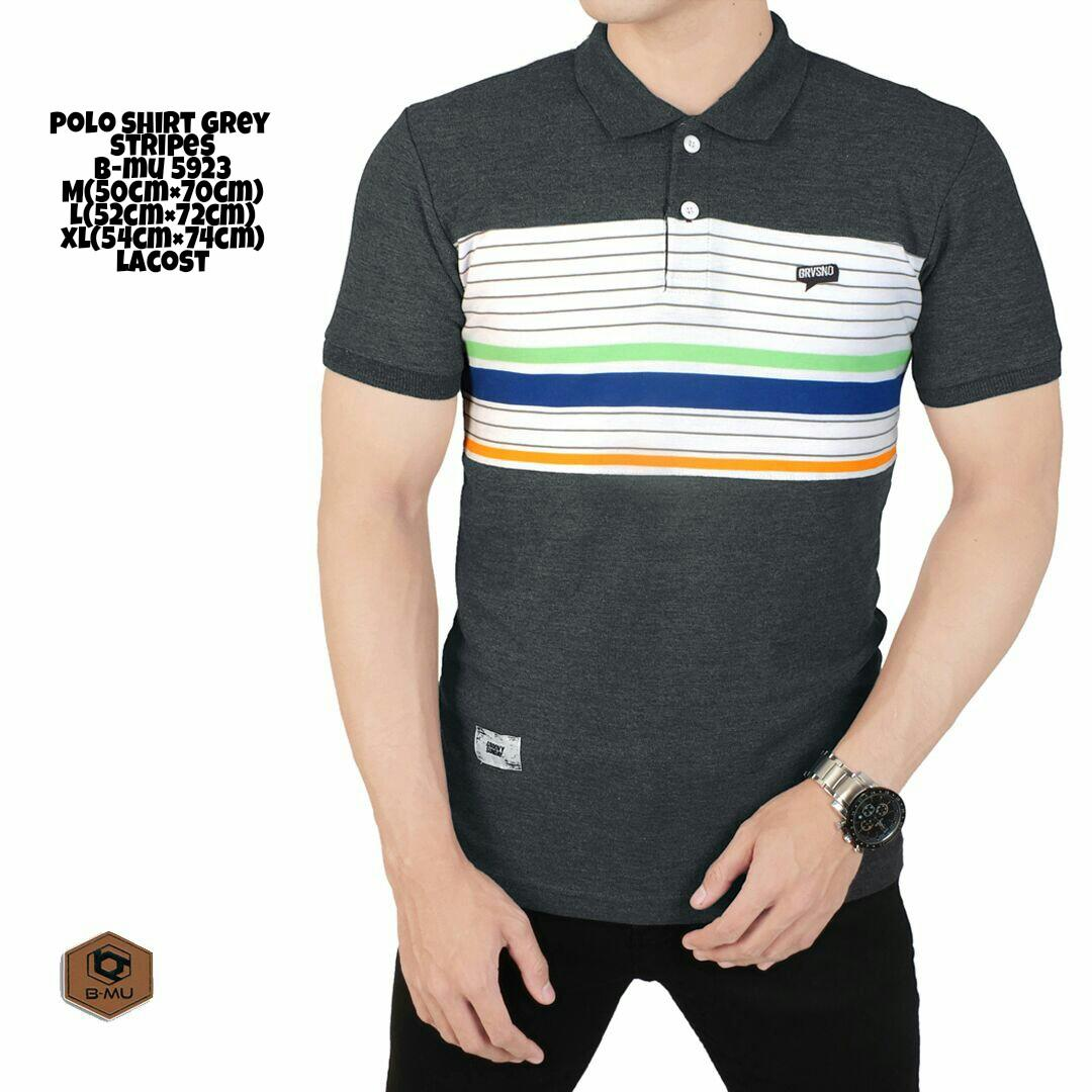the most - Poloshirt Abu mix lines hijau orange/kaos kerah abu motif garis baju pria murah kaos polo shirt cowok distro Lazada Birthday