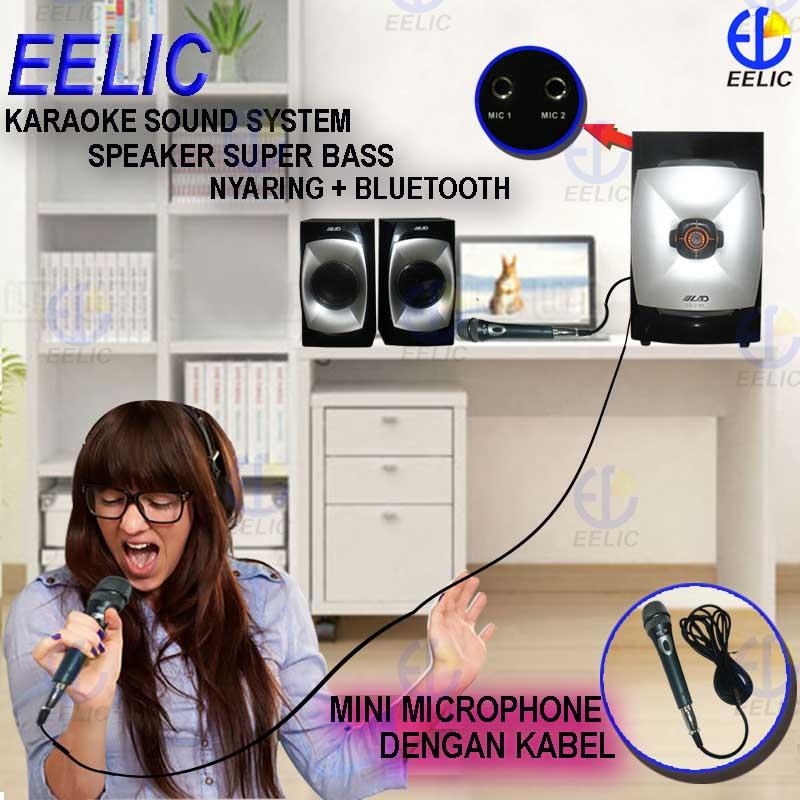 EELIC SPR-LD2181 MIX ABU-HITAM SPEAKER AKTIF SOUND SISTEM AUDIO KARAOKE SUPER BASS + BLUETOOTH DAN MICROPHONE DENGAN KABEL MIC-NK75 (2 PCS)