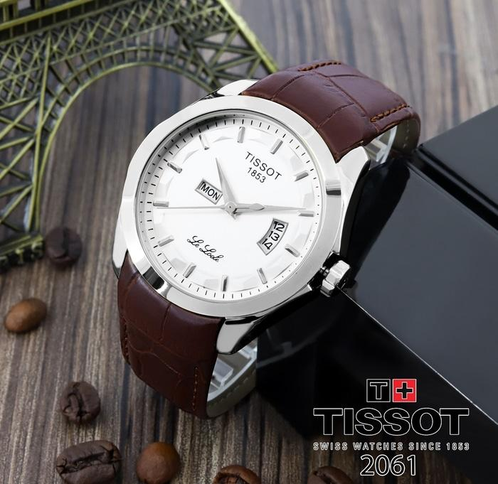 Jam Tangan Pria / Cowok Murah Tissot Daydate Leather Brown White