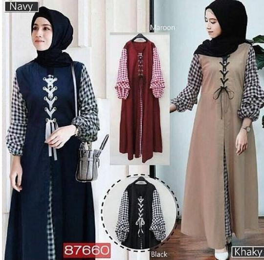 TotallyGreatShop Fashion Busana Muslimah Trendy - Gamis Pesta / formal / Casual / Kantor / Kerja / Remaja Balotelli mix Katun - Gaun Party Maxy Dress  ihsoimah