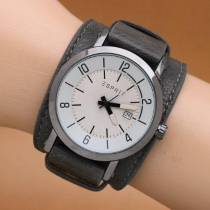 Jam Tangan Pria / Cowok Esprit Casual Leather Grey Black