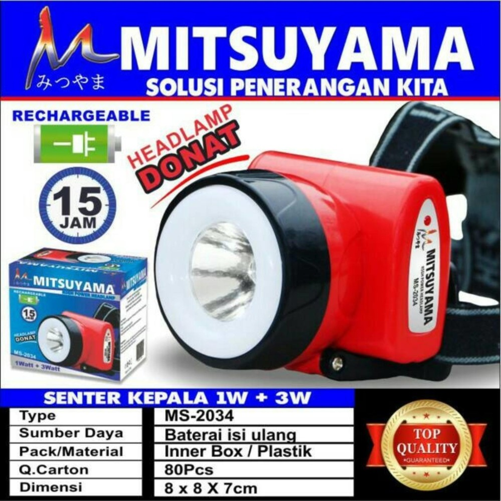 Mitsuyama High Power Headlamp Lampu Senter Kepala 2in1 Rechargeable Serbaguna Tahan 15 Jam - Warna RANDOM