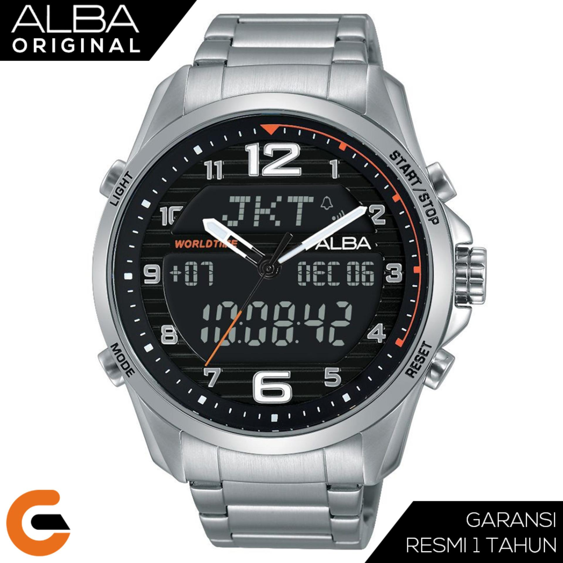 Alba Dual Time Digital Analog Jam Tangan Pria Tali Stainless / Nylon / Kulit / AZ40 Series
