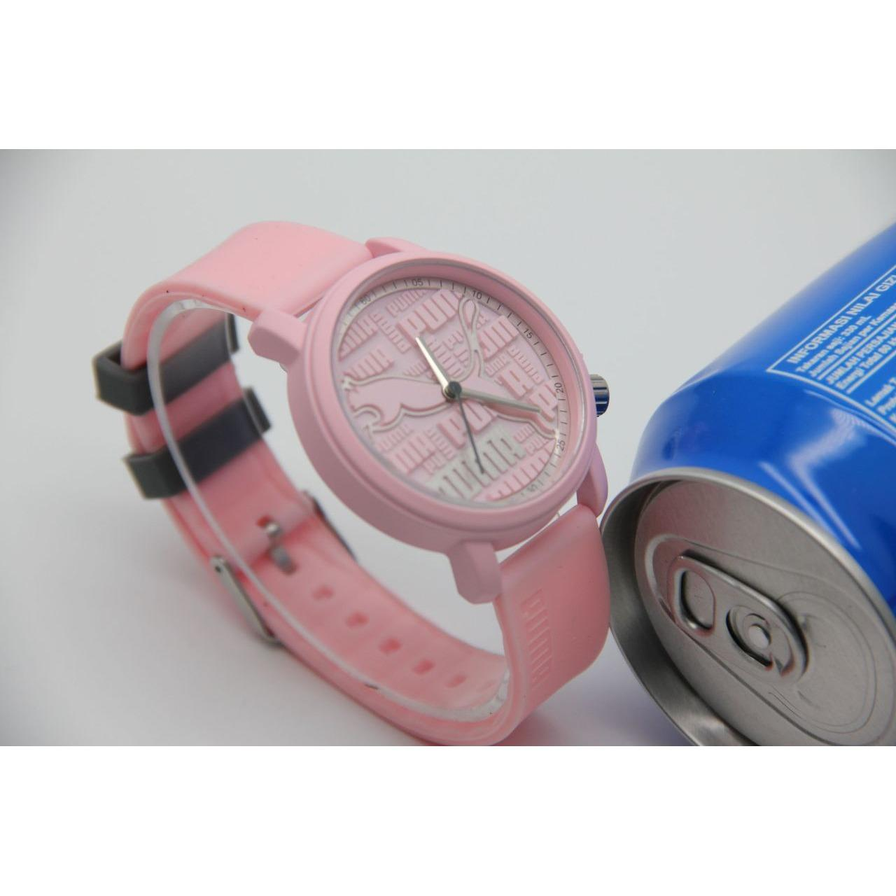 Jam Tangan Puma Sporty Kasual Stripe Rubber Free Box & Battery Cadangan