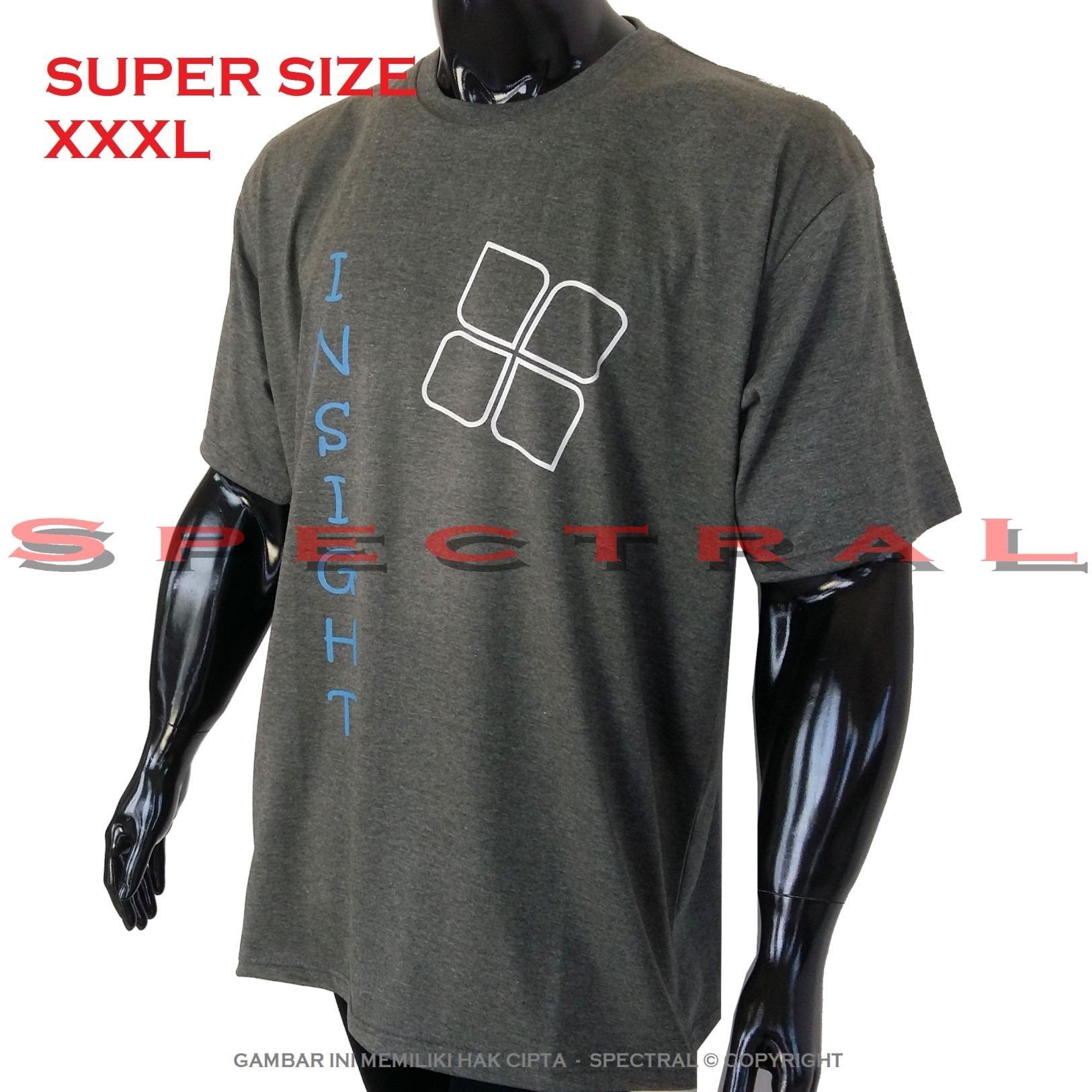 Spectral – 3XL SUPER BIG SIZE XXXL 100% Cotton Combed Kaos Distro Jumbo BIGSIZE T-Shirt Fashion Ukuran Besar Polos Celana Atasan Pria Wanita Katun Bapak Orang Tua Gemuk Gendut Simple Sport Casual Halus Baju Cowo Cewe Pakaian Super Size 3L INSIGHT 4 ABUTUA