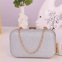 100% IMPORT Tas Pesta / Evening Clutch - Silver