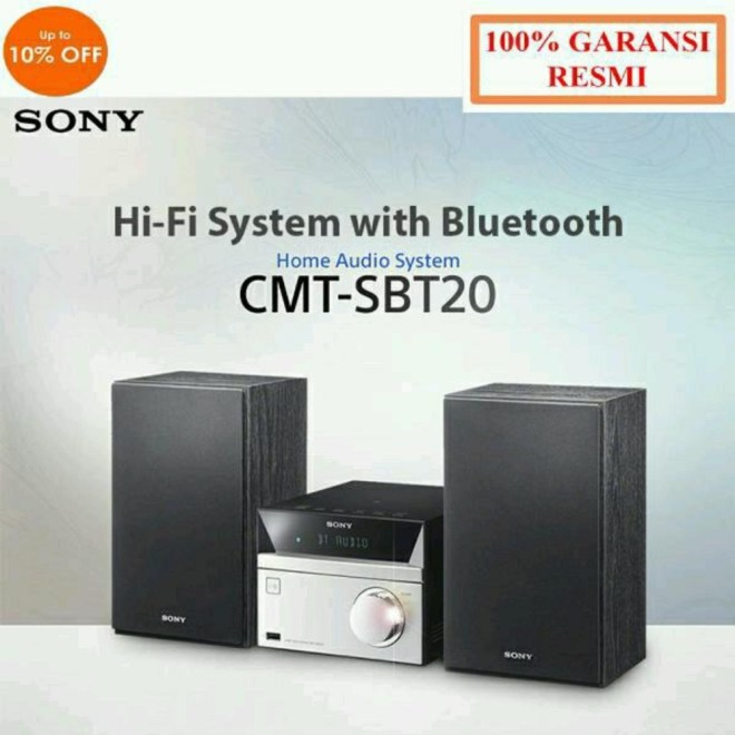 Sony CMT SBT20 Mini Hi-Fi System Speaker Sound With CD FM Tuner USB Bluetooth NFC Original