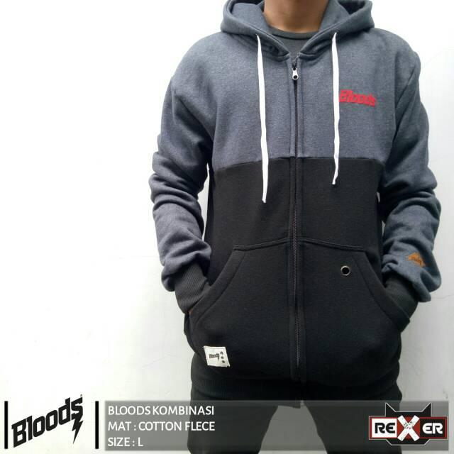 Jaket Bloods Kombinasi Blue Black