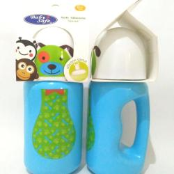 BABY SAFE BOTTLE SILICONE SPOUT (Botol Sedotan Anak 300ml) - Biru (Dog)