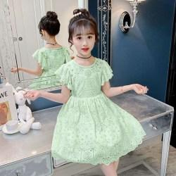 Baju Dress anak perempuan gaun pesta princess cewek lengan pendek+Rok panjang bahan renda import