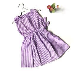 Baju anak Dress kutung Salur UNGU garis size M warna purple balita 2 - 3 tahun perempuan cewek lucu pinggang serut