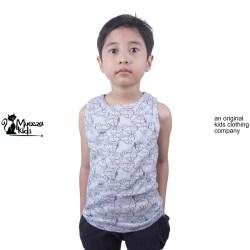 Baju Kaos Anak Mueeza Kids Tank Top Kutung Lekbong Anak Car Biru